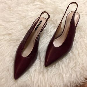 Zara Raspberry Leather Slingback Kitten Heels